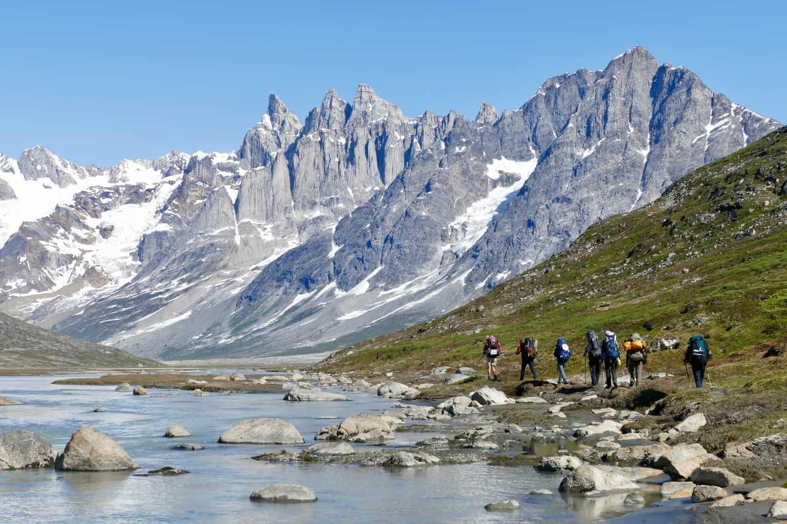 Trekkinggruppe in Ostgrönland